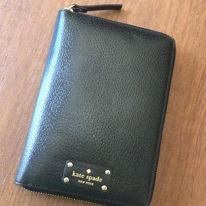 Black Kate Spade leather zipped agenda